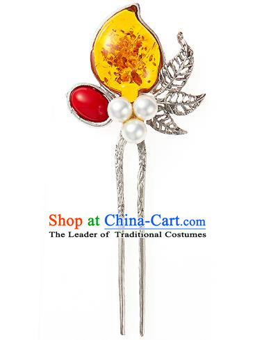 Traditional Korean National Wedding Hair Accessories Bride Palace Cyphers Yellow Hairpins, Korean Hanbok Fashion Hair Stick Headwear for Women