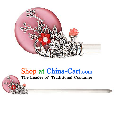 Traditional Korean National Hair Accessories Bride Wedding Pink Hairpins, Asian Korean Hanbok Fashion Headwear Hair Stick for Women