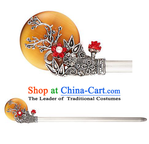 Traditional Korean National Hair Accessories Bride Wedding Yellow Hairpins, Asian Korean Hanbok Fashion Headwear Hair Stick for Women