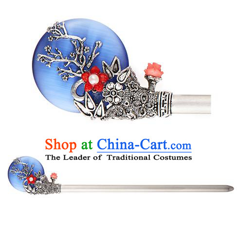 Traditional Korean National Hair Accessories Bride Wedding Blue Hairpins, Asian Korean Hanbok Fashion Headwear Hair Stick for Women