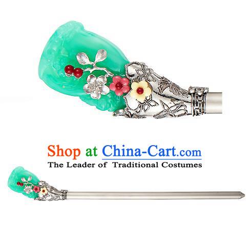 Traditional Korean National Hair Accessories Bride Green Colored Glaze Hairpins, Asian Korean Hanbok Fashion Headwear Hair Stick for Women