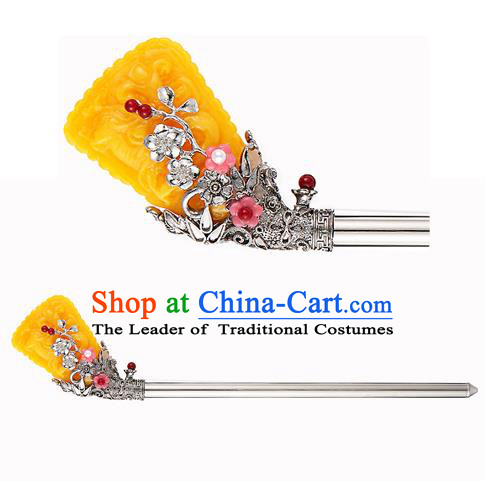 Traditional Korean National Hair Accessories Bride Yellow Colored Glaze Hairpins, Asian Korean Hanbok Fashion Headwear Hair Stick for Women