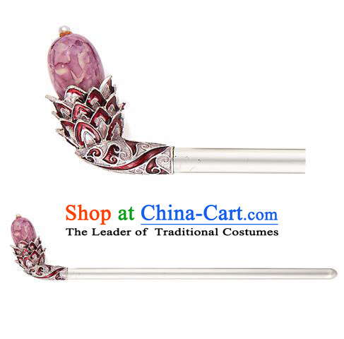 Traditional Korean National Hair Accessories Bride Purple Colored Glaze Hairpins, Asian Korean Hanbok Fashion Headwear Hair Stick for Women