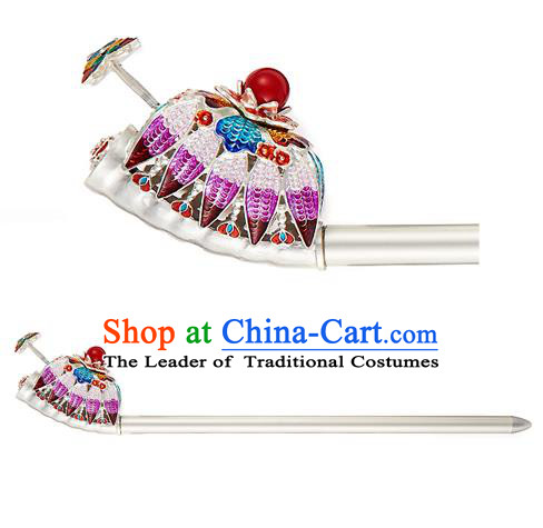 Traditional Korean National Hair Accessories Bride Purple Crystal Hairpins, Asian Korean Hanbok Fashion Headwear Hair Stick for Women