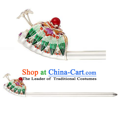 Traditional Korean National Hair Accessories Bride Green Crystal Hairpins, Asian Korean Hanbok Fashion Headwear Hair Stick for Women