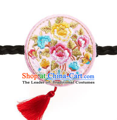 Traditional Korean National Hair Accessories Embroidered Pink Hair Clasp, Asian Korean Hanbok Fashion Headwear Palace Headband for Kids