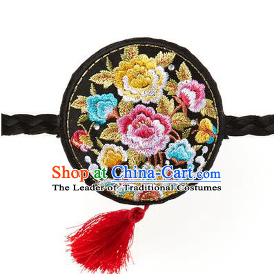 Traditional Korean National Hair Accessories Embroidered Black Hair Clasp, Asian Korean Hanbok Fashion Headwear Palace Headband for Kids