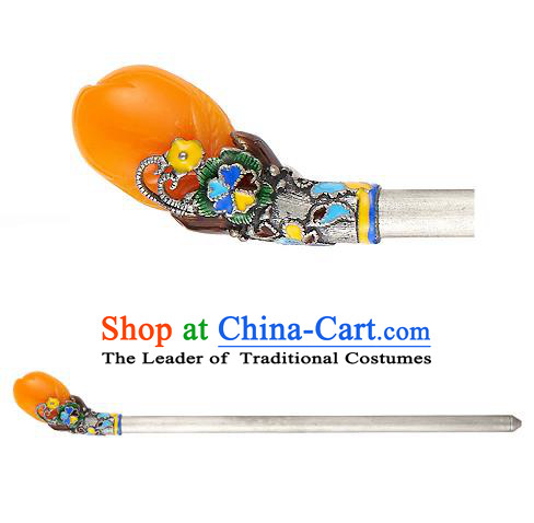 Traditional Korean National Hair Accessories Orange Hairpins, Korean Palace Hanbok Fashion Headwear for Women