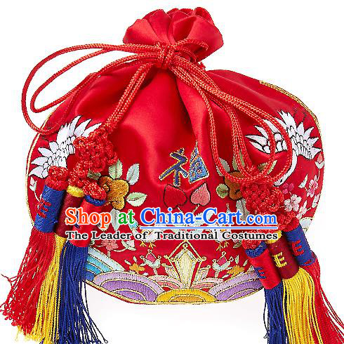 Traditional Korean Accessories Palace Princess Embroidered Purse, Asian Korean Fashion Lucky Bag for Kids