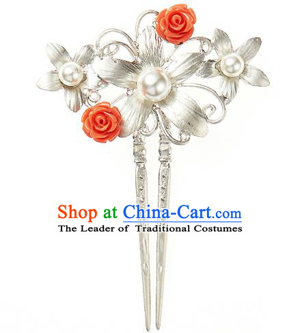 Traditional Korean National Hair Accessories Pearls Flowers Hairpins, Korean Palace Hanbok Fashion Headwear for Women