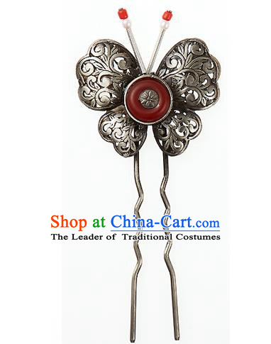 Traditional Korean National Hair Accessories Butterfly Hairpins, Korean Palace Hanbok Fashion Headwear for Women