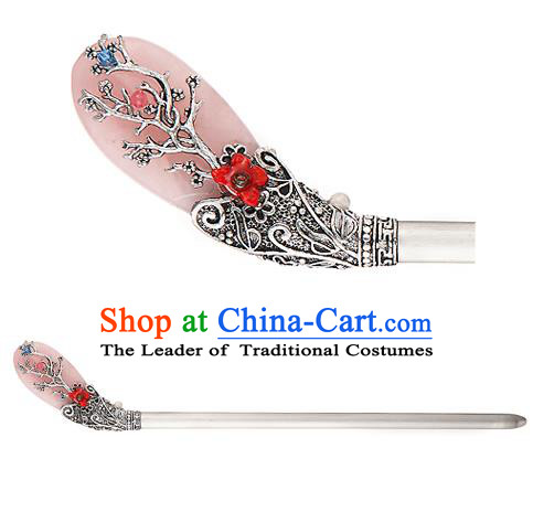 Traditional Korean National Hair Accessories Pink Hairpins, Korean Palace Hanbok Fashion Headwear for Women