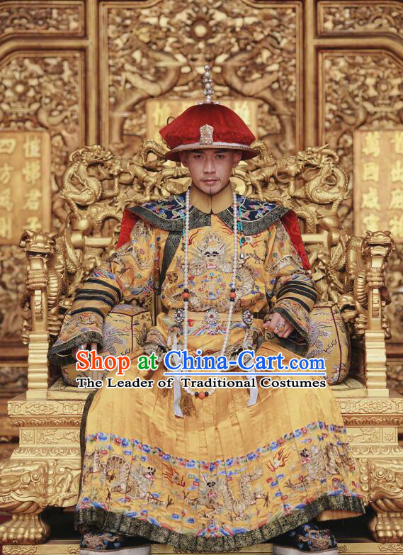 Story of Yanxi Palace Traditional Chinese Qing Dynasty Imperial Emperor Costume and Headwear Complete Set, Chinese Manchu Majesty Mandarin Embroidered Dragon Robe for Men
