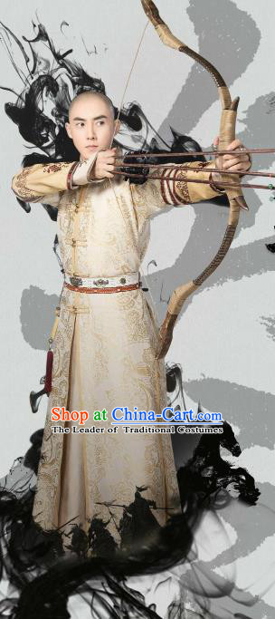 Traditional Chinese Qing Dynasty Infante Costume, Chinese Ancient Manchu Prince Mandarin Embroidered Hunting Clothing for Men
