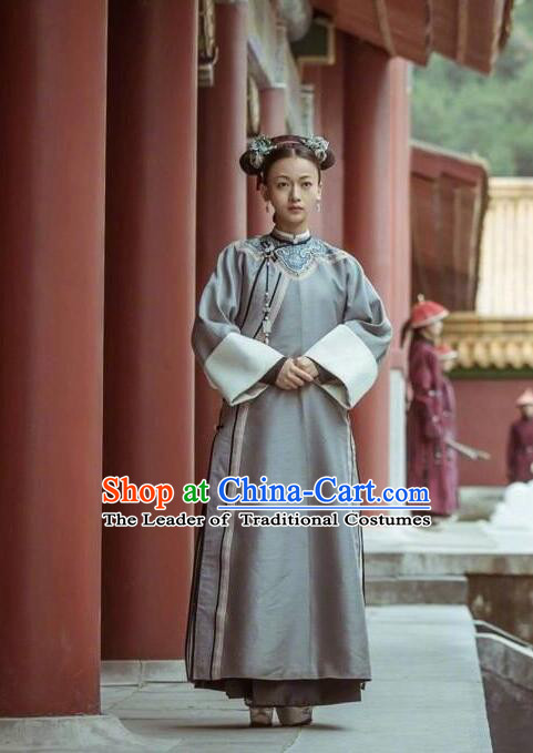 Story of Yanxi Palace Traditional Chinese Qing Dynasty Palace Lady Costume, Asian China Ancient Manchu Princess Embroidered Clothing for Women