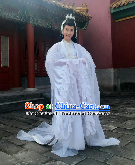 Traditional Chinese Tang Dynasty Princess Fairy Dance Costume, Asian China Ancient Palace Lady Embroidered Dress Clothing for Women