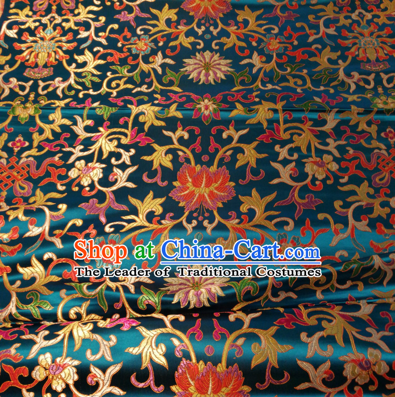 Lake Blue Color Chinese Traditional Pattern Design Brocade Fabric Silk Fabric Chinese Fabric Asian Material