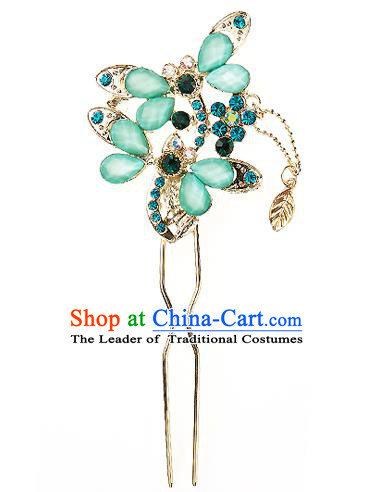 Korean National Wedding Hair Accessories Bride Palace Cyphers Green Butterfly Hairpins, Korean Hanbok Fashion Hair Stick Headwear for Women
