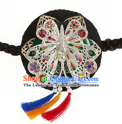 Korean National Wedding Hair Accessories Bride Black Butterfly Hair Clasp, Korean Hanbok Fashion Headband for Kids