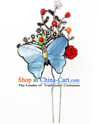Korean National Wedding Hair Accessories Bride Blue Butterfly Hairpins, Korean Hanbok Fashion Palace Hair Stick for Women