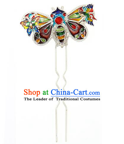 Korean National Wedding Hair Accessories Bride Blueing Bee Hairpins, Korean Hanbok Fashion Palace Hair Clasp for Women
