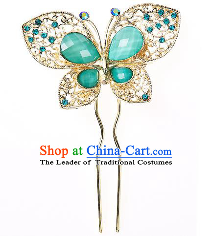 Korean National Wedding Hair Accessories Bride Hairpins Crystal Green Butterfly Hair Clip, Korean Hanbok Fashion Palace Hair Clasp for Women