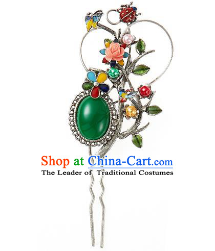 Korean National Wedding Hair Accessories Bride Hairpins Green Hair Clip, Korean Hanbok Fashion Palace Hair Clasp for Women