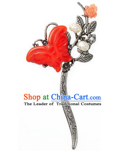 Korean National Wedding Hair Accessories Bride Hairpins Red Butterfly Hair Clip, Korean Hanbok Fashion Palace Hair Clasp for Women