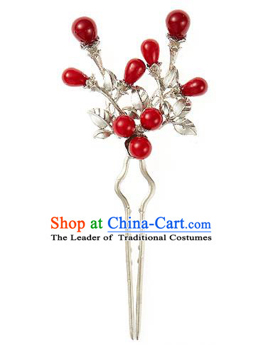 Korean National Wedding Hair Accessories Bride Hairpins Red Beads Hair Clip, Korean Hanbok Fashion Palace Hair Clasp for Women