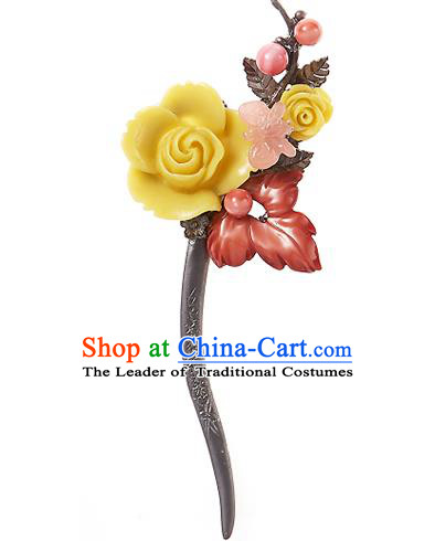 Korean National Wedding Hair Accessories Bride Hairpins Yellow Rose Hair Clip, Korean Hanbok Fashion Palace Hair Clasp for Women