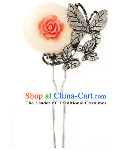 Korean National Wedding Hair Accessories Bride Hairpins Rose Butterfly Hair Clip, Korean Hanbok Fashion Palace Hair Clasp for Women