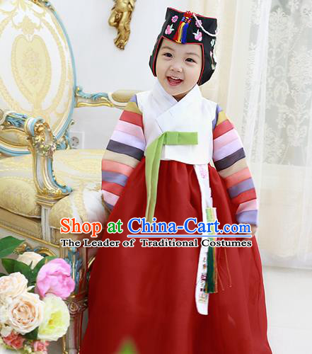 Asian Korean National Handmade Formal Occasions Wedding Clothing White Blouse and Red Dress Palace Hanbok Costume for Kids