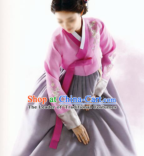 Asian Korean National Traditional Handmade Formal Occasions Bride Embroidered Wedding Pink Hanbok Costume Complete Set