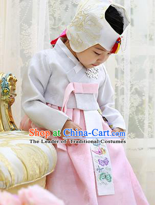 Asian Korean National Handmade Formal Occasions Wedding Clothing Grey Blouse and Pink Dress Palace Hanbok Costume for Kids