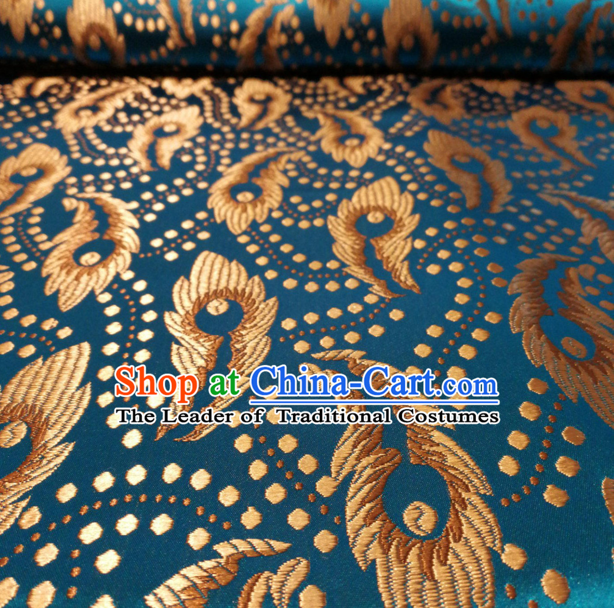 Lake Blue Color Chinese Royal Palace Style Traditional Pattern Design Brocade Fabric Silk Fabric Chinese Fabric Asian Material