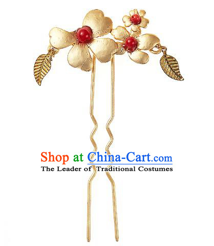 Korean National Wedding Hair Accessories Bride Golden Flower Hair Clip, Korean Hanbok Fashion Palace Hairpins for Women