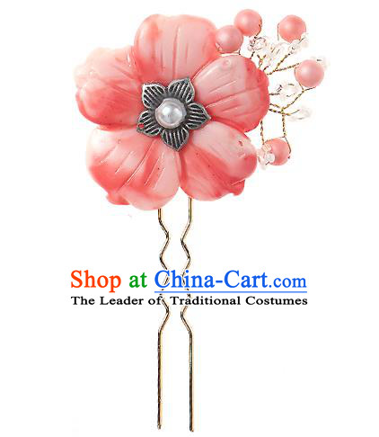 Korean National Wedding Hair Accessories Bride Pink Flower Hair Clip, Korean Hanbok Fashion Palace Hairpins for Women