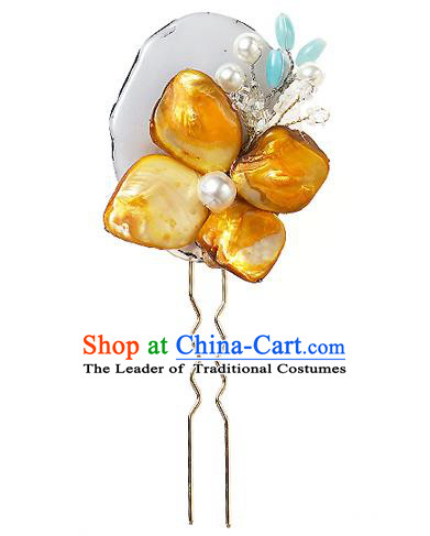 Korean National Wedding Hair Accessories Bride Yellow Flower Hair Clip, Korean Hanbok Fashion Palace Hairpins for Women
