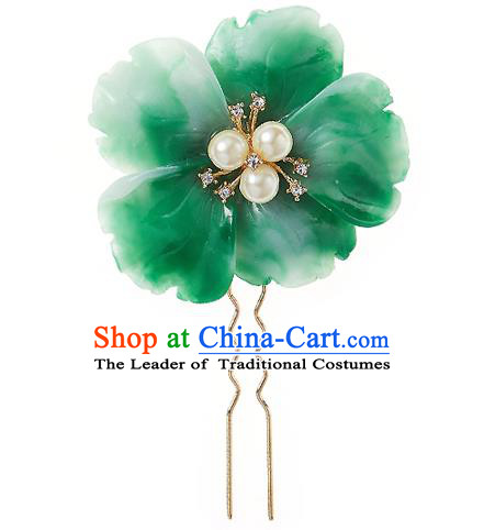 Korean National Wedding Hair Accessories Bride Green Flower Hair Clip, Korean Hanbok Fashion Palace Hairpins for Women