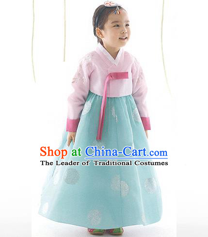 Asian Korean National Handmade Formal Occasions Pink Blouse and Green Dress Palace Hanbok Costume for Kids