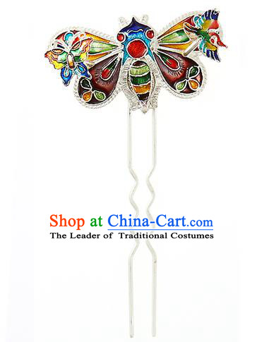 Korean National Wedding Hair Accessories Bride Hair Clip, Korean Hanbok Fashion Palace Blueing Bee Hairpins for Women