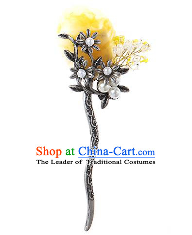 Korean National Wedding Hair Accessories Bride Headwear Yellow Hair Clip, Korean Hanbok Fashion Palace Hairpins for Women