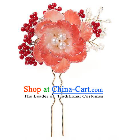 Korean National Wedding Hair Accessories Bride Headwear Pink Flower Hair Clip, Korean Hanbok Fashion Palace Hairpins for Women