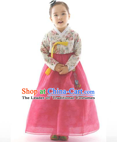 Asian Korean National Handmade Formal Occasions Wedding Clothing Printing Blouse and Pink Dress Palace Hanbok Costume for Kids