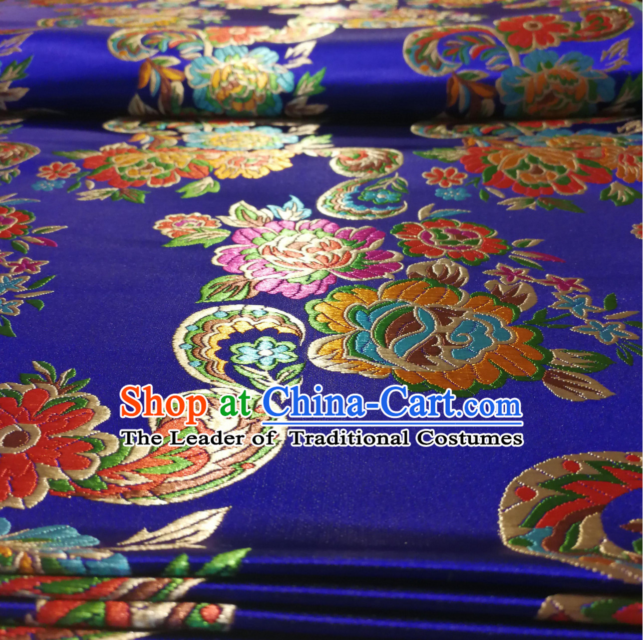 Royal Blue Color Chinese Royal Palace Style Traditional Flower Peony Pattern Design Brocade Fabric Silk Fabric Chinese Fabric Asian Material