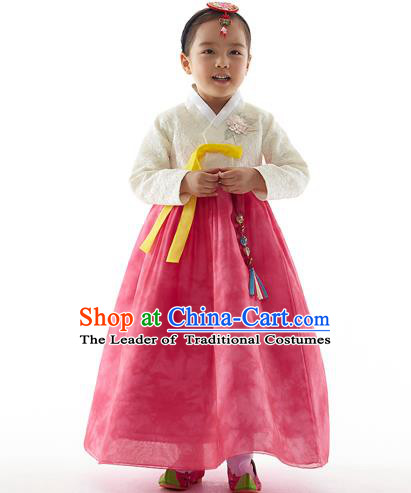Asian Korean National Handmade Formal Occasions Wedding Clothing White Embroidered Blouse and Pink Dress Palace Hanbok Costume for Kids