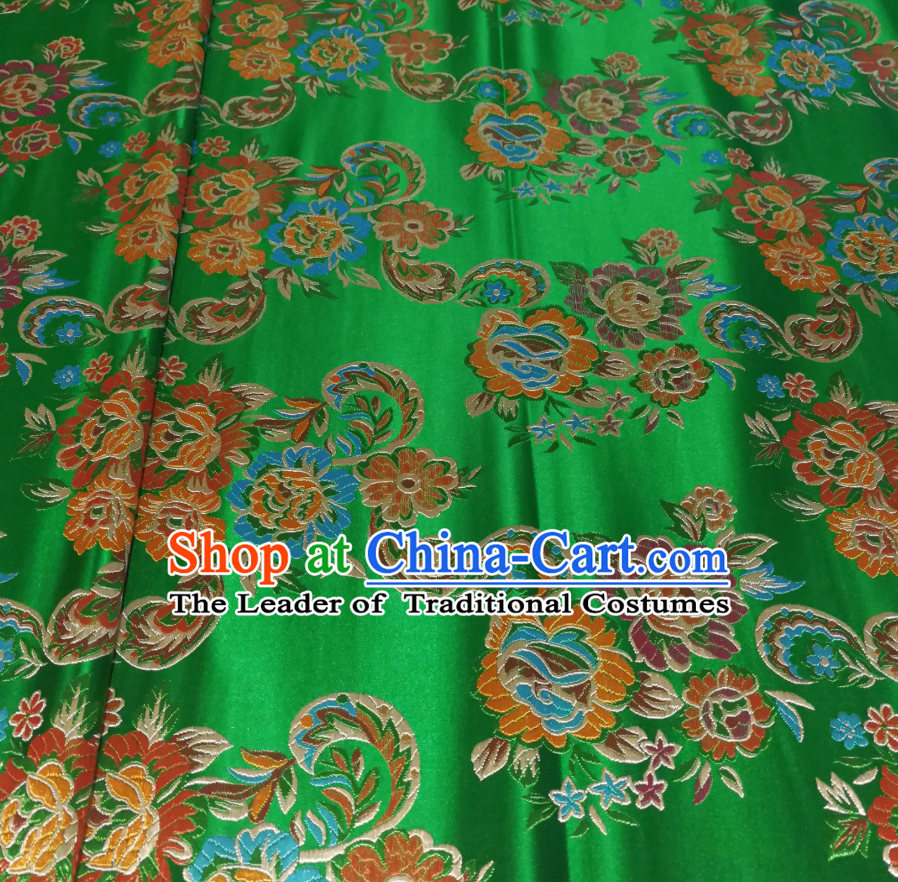 Royal Green Color Chinese Royal Palace Style Traditional Flower Peony Pattern Design Brocade Fabric Silk Fabric Chinese Fabric Asian Material