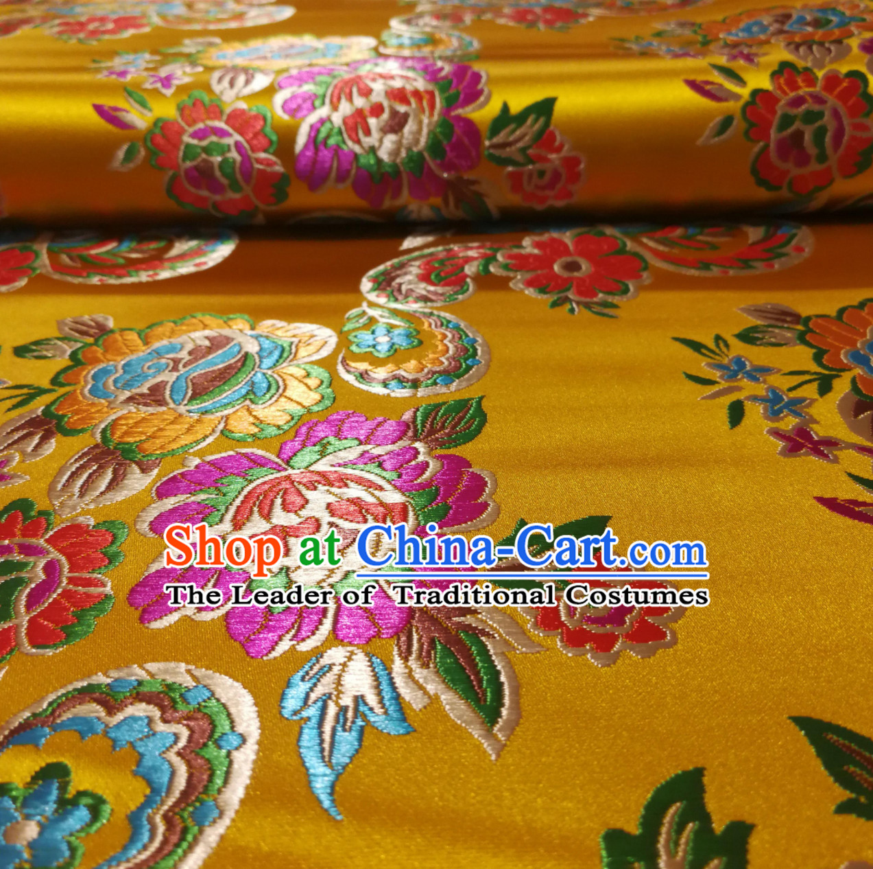 Royal Yellow Color Chinese Royal Palace Style Traditional Flower Peony Pattern Design Brocade Fabric Silk Fabric Chinese Fabric Asian Material