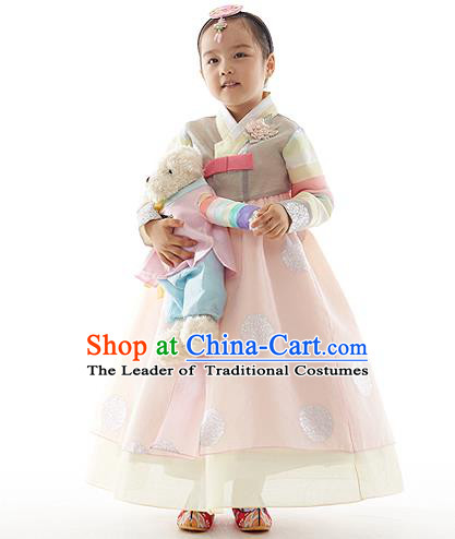 Asian Korean National Handmade Formal Occasions Wedding Clothing Printing Grey Blouse and Pink Dress Palace Hanbok Costume for Kids
