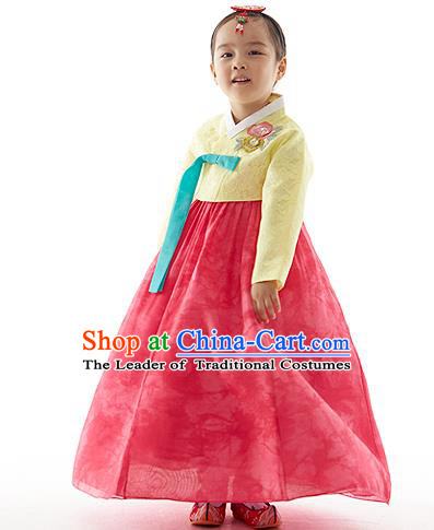 Asian Korean National Handmade Formal Occasions Wedding Clothing Yellow Lace Blouse and Red Dress Palace Hanbok Costume for Kids